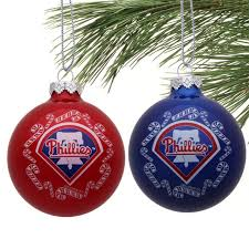 philadelphia phillies 2 pack home and away glass ornaments