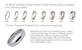 mens wedding bands that don t scratch custom engraving 6mm white tungsten carbide polished