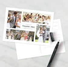 wedding thank you postcards personalised photo montage wedding thank you postcard by