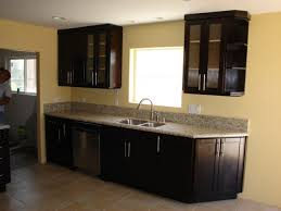 Kitchen Colors With Black Cabinets Amazing Decorating Ideas Using Rectangular Brown Wooden