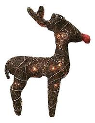 Outdoor Deer Christmas Decorations by 23 Inch Wooden Twig Rudolph Red Nosed Reindeer Lighted Holiday