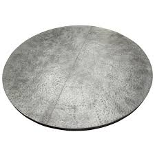 watts industrial loft zinc top wood base round dining table