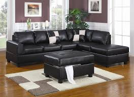 attractive black leather sectional with chaise black leather