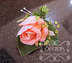 coral boutonniere artificial coral pink and and eucalyptus boutonniere top