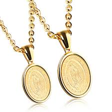 round gold necklace pendant images Religious virgin mary round gold medal pendant necklace for men jpg