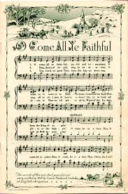 o come all ye faithful sheet music patchwork and wreaths