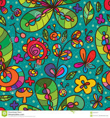 wild flower green color drawing seamless pattern stock photo
