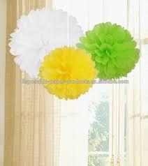 Yellow Pom Pom Flowers - paper crafts pom poms kids birthday party decor pom pom set of