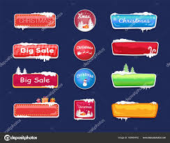 theme line winter set of winter theme web push button covered snow stock vector