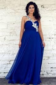 one shoulder long royal blue chiffon beaded plus size formal