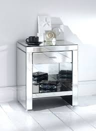 small square venetian mirrored bedside table with bookshelf