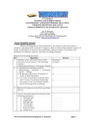 Chemistry Review Worksheet Answers Worksheet Thermochemistry Calorimetry Chemical Reactions