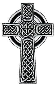 celtic crucifix celtic cross iron on patch white embroidered relgious