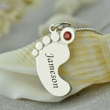 necklace baby name images Birthstone mom necklace baby feet necklace engraved kids name jpg