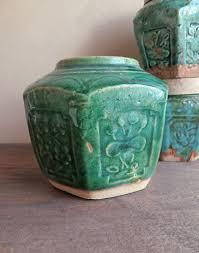 large green ginger jar pot chinese drip green glaze asian pottery