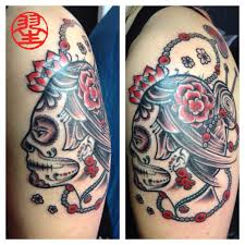 la catrina mexican tattoo shoulder arm black grey habu san