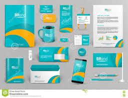 green corporate identity template with orange element best for