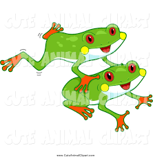 vector cartoon clip art of a cute red eyed tree frogs leaping by