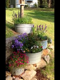 galvanized metal tubs filled with flowers debs yard u0026 front