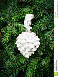 ornaments on fir tree background white pine