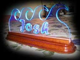 edge lit night light or lighted desk name plate