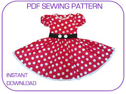 Sewing Patterns Halloween Costumes Pdf Sewing Pattern Minnie Mouse Dress 3 Sizes 3 7yr