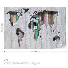 World Map On Wood Planks by Wall Mural Photo Wallpaper Xxl World Map Wood Planks 3134ws Ebay