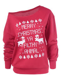 snow merry christmas pullover sweatshirt in red xl sammydress com