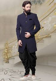 men wedding plain khadi dhoti sherwani in navy blue mhg503