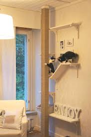 creative cat scratch post shelving but if we built it would they