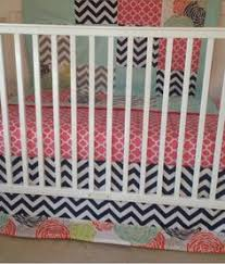 Navy And Coral Crib Bedding Custom Nursery Bedding Ux Ui Designer Turquoise And Aztec