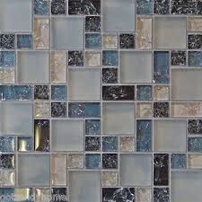 SF Blue Crackle Glass Mosaic Tile Backsplash Kitchen Wall - Stone glass mosaic tile backsplash
