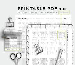 printable pdf 2018 mini calendars for journal monday and zoom
