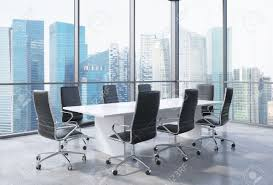 panoramic conference room in modern office in singapore black