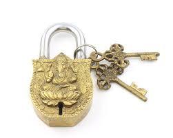 big temple lock u0026 key set ganesh solid brass antique alter