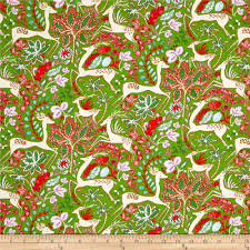 winterland fabric reindeer poinsettias on green