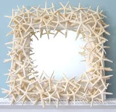 beach decor white starfish mirror nautical shell mirror white
