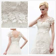 high quality a line strapless white lace ankle length short sleeve