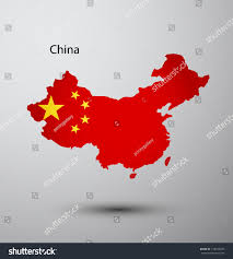 China On Map by China Flag On Map Country Stock Vector 128594633 Shutterstock