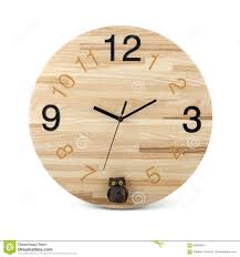 wooden round wall watch with owl toy clock isolated on white