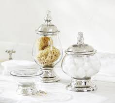 Glass Bathroom Accessories Sets Evleen Mercury Glass Bath Accessories Pottery Barn
