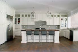 Full Overlay Kitchen Cabinets by Fireclay Tile Foggy Morning Backsplash In Herringbone White