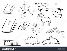 doodle christian icons sketch elements bible stock vector