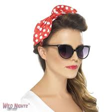 50s pin up halloween costumes fancy dress accessory ladies 1950s pin up polka dot red bow headband