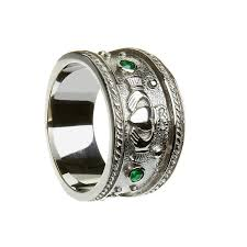 emerald stones rings images Mens emerald stone set claddagh band heavy jpg