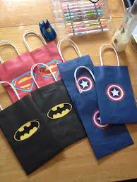 loot bags for superhero party just printed logos cut them out