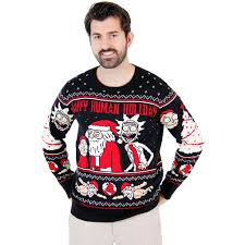 and morty happy human holiday ugly christmas sweater