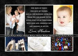five photo christening thank you card black white