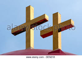 church crosses crosses on a roof of church stock photo royalty free image