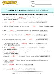 Resume Past Tense Bunch Ideas Of Simple Past Tense Worksheets For Grade 1 Also